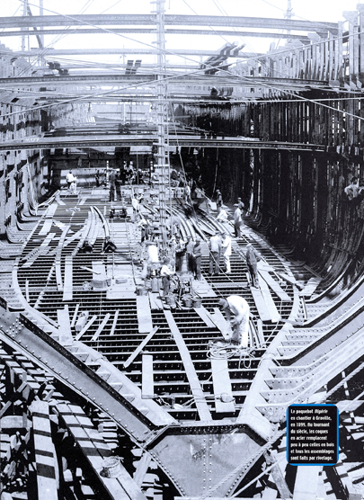 Construction d'un bateau sur le chantier havrais de Graville en 1899