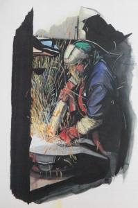 Fondeur à l'ébarbage - Peinture de Magali Bartheye